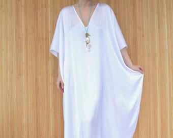 White Kaftan, Beach Cover-up, Long Plus Size Kaftan, Holiday Resort Wear, White Maxi Sun Dress, Honeymoon Caftan Robe
