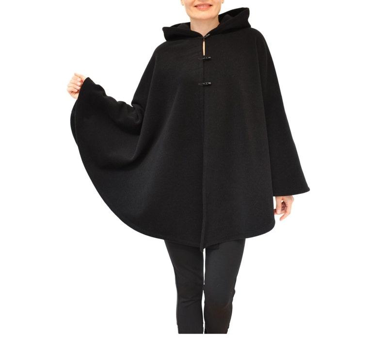 Mantello di lana nero di lana e Cashmere Cape cappotto Poncho  e70e066ab5c