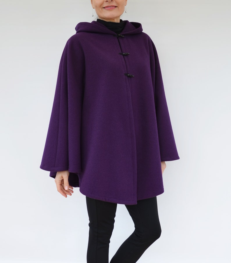 Purple Wool Cloak Women/'s Cape Coat Purple Wool Poncho Cashmere Hooded Cape Jacket