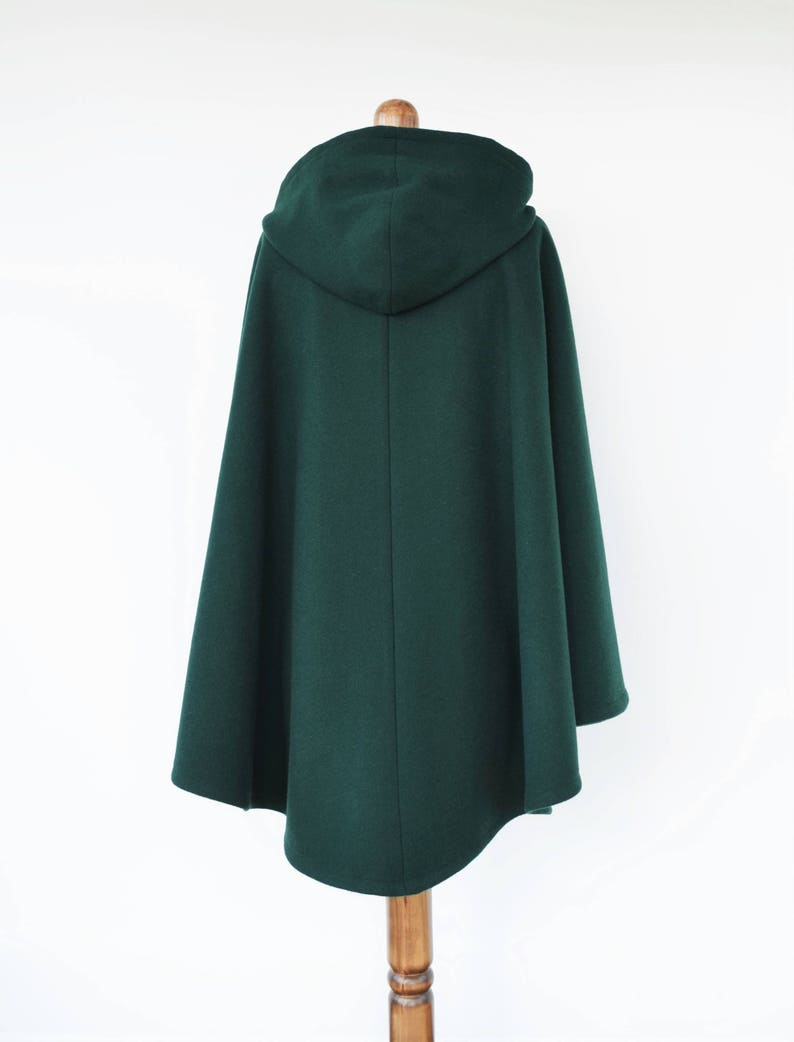 0091deea552 Dark Green Wool Cloak Wool Hooded Cape Plus Size Medieval