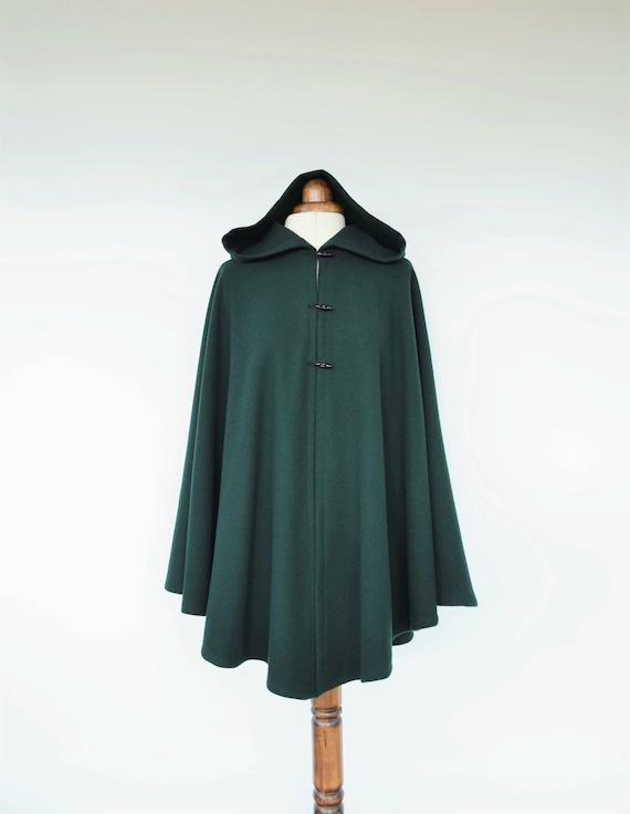 Dark Green Wool Cloak Wool Hooded Cape Plus Size Medieval  2e95fd7fb