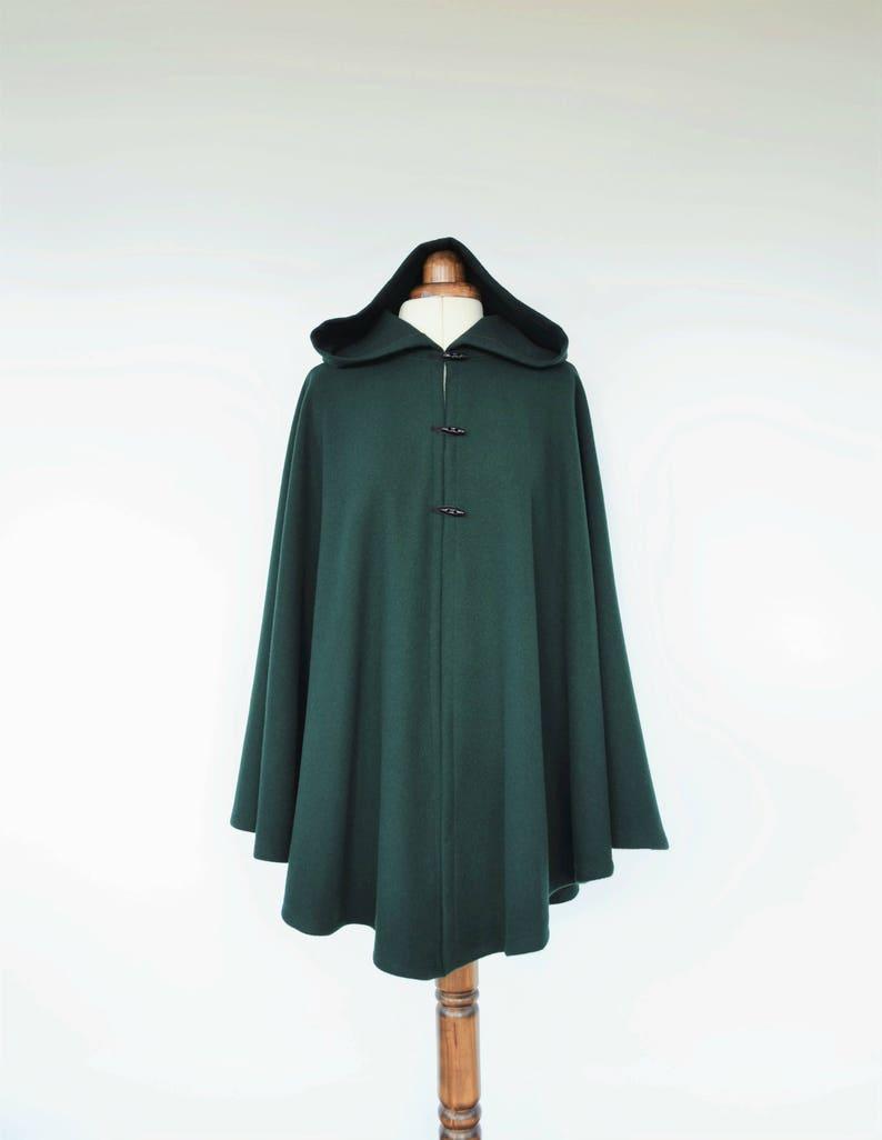 8cdd4449412 Dark Green Wool Cloak Wool Hooded Cape Plus Size Medieval