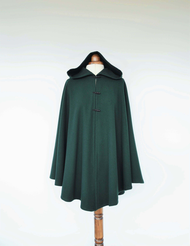 Dunkel grün wolle Mantel Umhang wolle mit Kapuze Plus Größe