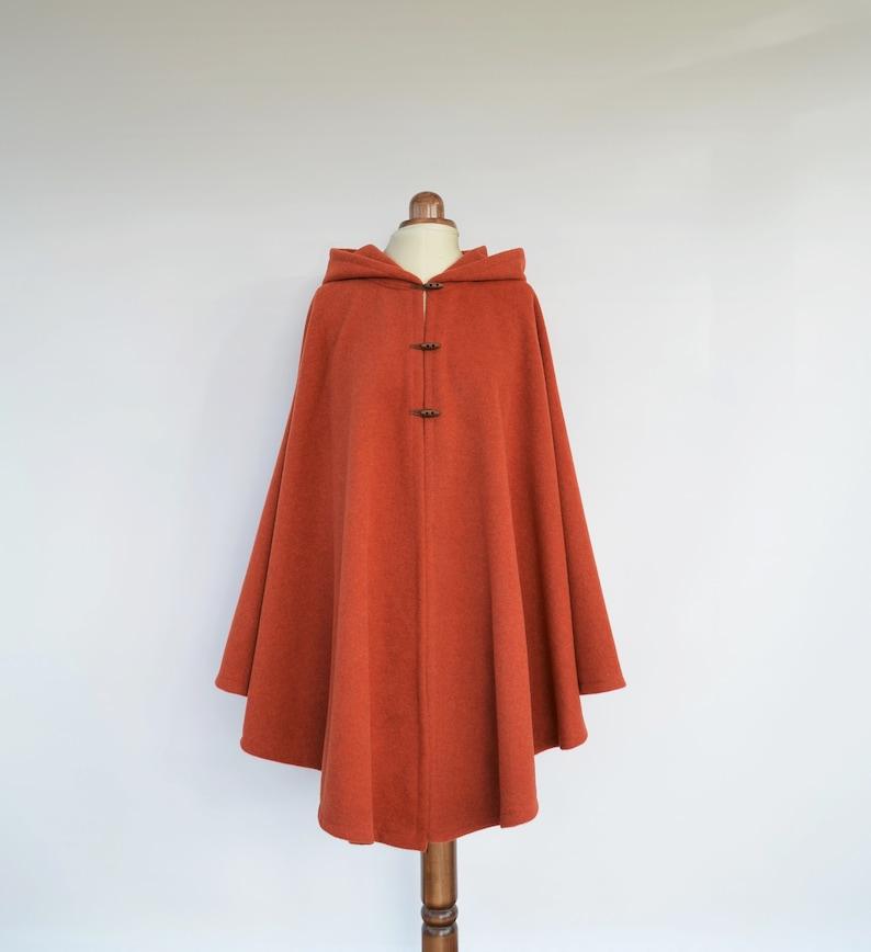 ccd63fb997f53 Wool Hooded Cape Coat for Autumn Burnt Orange Plus Size Cape