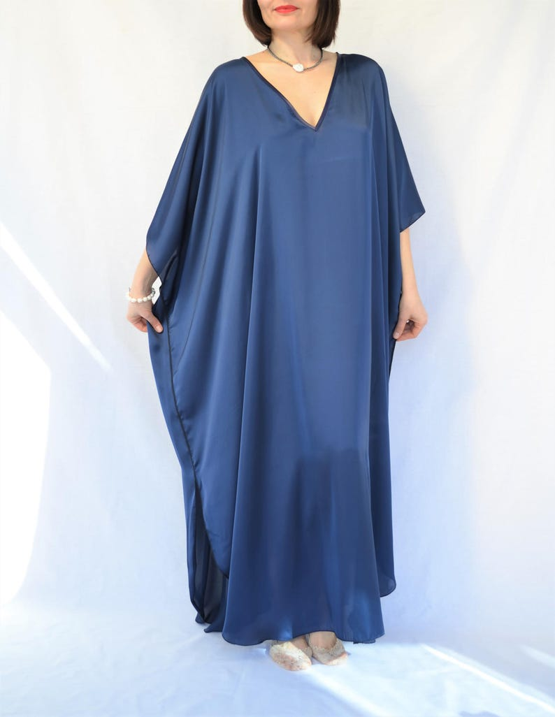 160cf26a11fbd Blue Maxi Kaftan Dress Silky Kimono Robe Women's Plus   Etsy