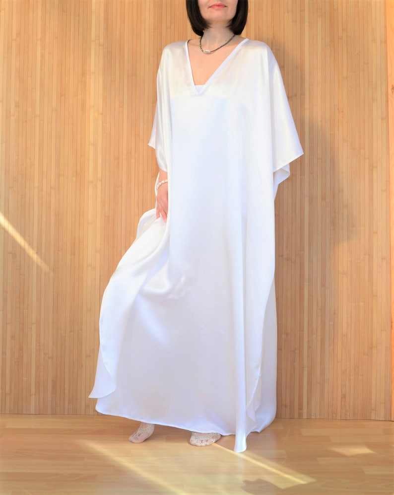 d1afe54cd2 White Silk Kaftan Dress Maxi Caftan Robe Plus Size Silk
