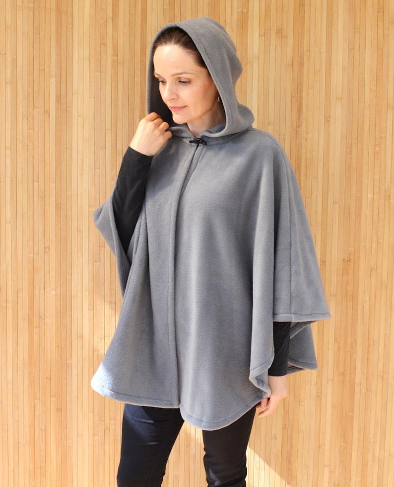 1ad8bd09396 Grey Hooded Cape Coat Polar Fleece Poncho Jacket Short