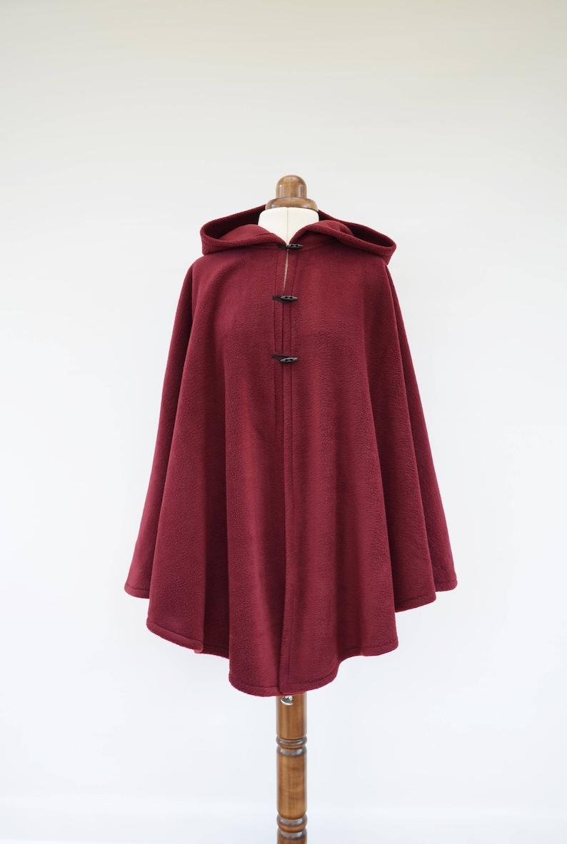 568c2e58706 Burgundy Hooded Cloak Dark Red Fleece Cape Women s