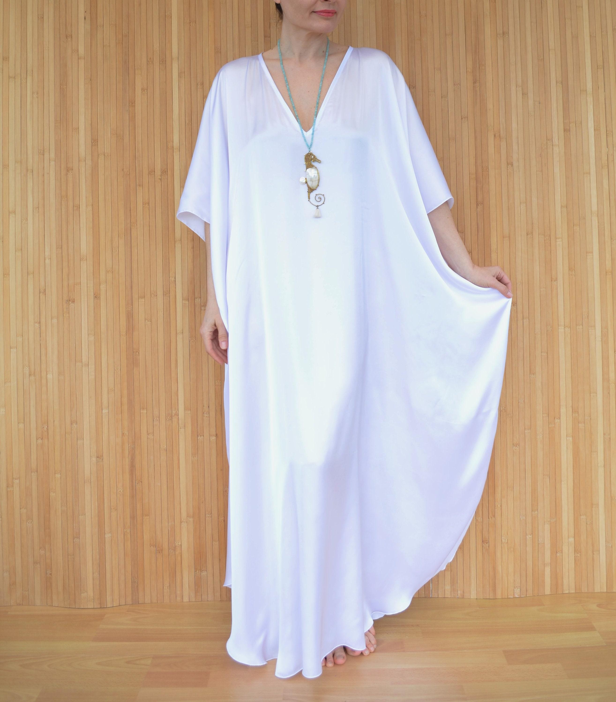 168c1ad970 White Kaftan Beach Cover-up Long Plus Size Kaftan White