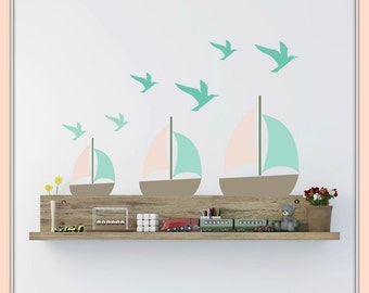 FREE SHIPPING Wall Decal 8 Boats Pastel Colors & 17 Seagulls Shades Of Turquoise. Nursery Wall Decal. Wall Art. Wall Sticker.Diy Wall Decal.