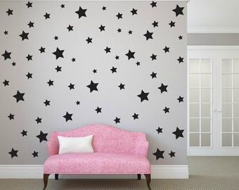 FREE SHIPPING Wall Decal Different Size of 150 Stars Color Black. Home Decor.Nursery Wall Sticker. Vinyl Wall Decal