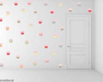 FREE SHIPPING Cupcake Wall Decal. 84 Wall Decal. Nursery Decals. Kids Wall Sticker. Home Decor. Housewares.