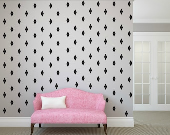 FREE SHIPPING 288 Rhombus Wall Decal Black,Nursery Wall decal. Vinyl Wall Decal. Wall Sticker. Kids Room Wall Decal.