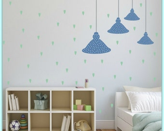 FREE SHIPPING Wall Decal, 4 Ceiling lamps.Differnt Sizes.  Pstel Blue With  White Dot.& 71 Green Hearts. Nursery Wall Decal. Vinyl  Decal.