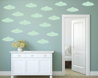 FREE SHIPPING Wall Decal Clouds Color Mint . Nursery Wall Decal. Kids Wall Decal. Vinyl Wall Decal.
