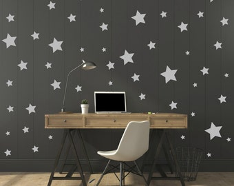 FREE SHIPPING Wall Decal Different Size of 150 Stars Color Gray. Home Decor.Nursery Wall Sticker. Vinyl Wall Decal