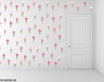 FREE SHIPPING Ice Cream Wall Decal.85 Shades Of Pink Color Wall Decal. Nursery Decal. Home Decor. Housewares.