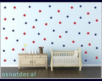 FREE SHIPPING Wall Decal Larg Kit Contains  180 Blue & Red Stars. Home Decoration Nursery Kids Room Wall Sticker