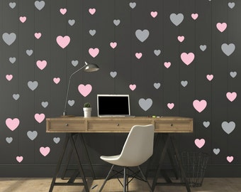 FREE SHIPPING Wall Decal 130 Hearts two Color Pastel Pink & Gray. Wall Sticker, Nursery Wall Decal. Vinyl Wall Decal. Wall Art.