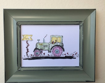 Print of my oringinal paint on paper size 13*18 CM. Tractor. art paper, art, wall art. home decor.