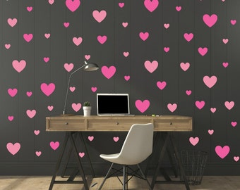 FREE SHIPPING Wall Decal 130 Hearts  two Color Of Pink. Wall Sticker, Nursery Wall Decal. Vinyl Wall Decal. Wall Art.