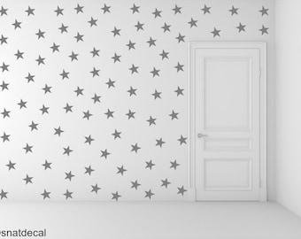 FREE SHIPPING Wall Decal Gray Stars. 77 Stars. Nursery Wall Decal. Wall Art. Vinyl Wall Decal.
