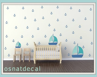 FREE SHIPPING Wall Decal 71 Anchors With  3 Boats Home Decor Nursery Wall Sticker Color Turquoise And Blue Pastel