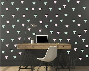FREE SHIPPING Wall Decal Triangle Mint  & Pink , Each Kit 238. Wall Sticker. Nursery Wall Art.Geometric Wall Decal Kids Wall Decal
