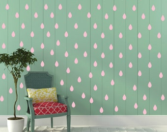 FREE SHIPPING Wall Decal Rain Drops PINK Color. Each Kit 168. Nursery Wall Decal. Home Decor. Vinyl Wall Decal Wall Sticker. Wall Art