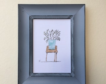 Print of my oringinal paint on paper size 13*18 CM. Flowerpot. art paper, art, wall art. home decor.