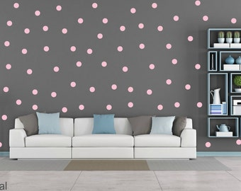 FREE SHIPPING Wall Decal Larg Quantitiy OF Dots 126. Color Pastel Pink. Nursery Wall Sticker. Homedecor.Kids room Wall Art