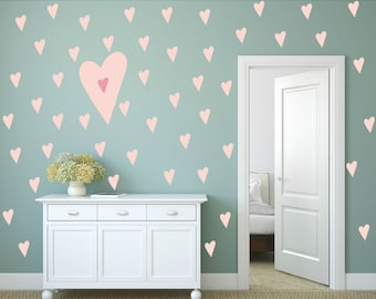 FREE SHIPPING Hearts Wall Decal Color Pastel Pink.112 Decal. Nursery Wall Decal. Vinyl Decal. Wall Sticker. Wall Art. Kids Wall Decal.