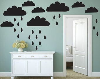 FREE SHIPPING Wall Decal Clouds& Drops Color Black 94 Wall Decal. Nursery Decal. Vinyl Wall Decal. Home Decor.Housewares. Children Decal.