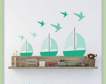 FREE SHIPPING Wall Decal 8 Boats & 17 Seagulls Shades Of Turquoise. Nursery Wall Decal. Wall Art. Wall Sticker.Diy Wall Decal.