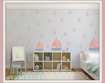 FREE SHIPPING Wall Decal 73 Anchors With 3 Boats Home Decor Nursery Wall Sticker Color Pink & Gray