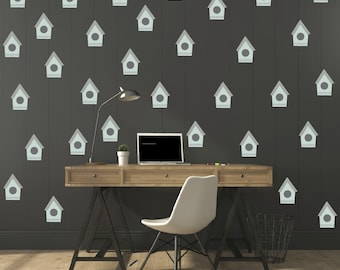FREE SHIPPING Wall Decal Bird Hous & Hearts Pastel Color. Nursery Wall Decal. Vinyl Wall Decal. Kids Decal. Wall Art. Wall Paper. Diyl Decal