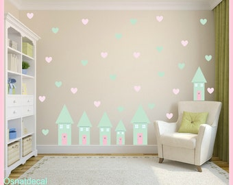 FREE SHIPPING Wall Decal 6  Houses Differnt Sizes Color Mint &  Hearts in Pastel Color.Wall Art. Nursery Wall Decal. Vinyl Wall Decal