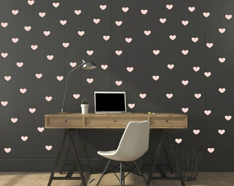 FREE SHIPPING Wall Decal 159 Pastel Pink Hearts. Nursery Wall Decal.Wall Art. Wall Paper.Vinyl Wall Decal. Diy Wall Decal.