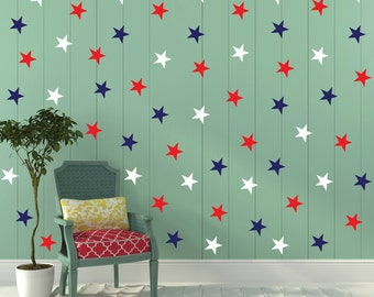 FREE SHIPPING Wall Decal Blue Red & White Stars. 77 Stars. Nursery Wall Decal. Wall Art. Vinyl Wall Decal.