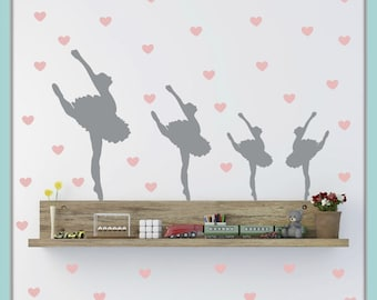 FREE SHIPPING 12 Gray Ballerina Dance & 63 Pink Heart Wall Decal. Nursery Wall Decal. Vinyl Wall Decal. Wall Art. Wall Sticker. Home Decor