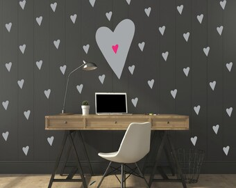 FREE SHIPPING Hearts Wall Decal.112 Decal.Color Gray & Pink Nursery Wall Decal. Vinyl Decal. Wall Sticker. Wall Art. Kids Wall Decal.
