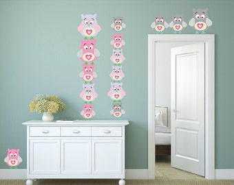 FREE SHIPPING Wall Decal 15 Owl Pastel Color . Nursery Wall Decal. Vinyl Wall Decal. Kids Wall Decal. Vinyl Sticker.