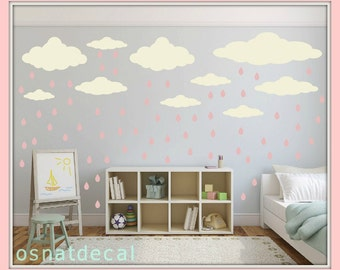 FREE SHIPPING Wall Decal 22 Pastel Cream Clouds & 65 Pink Raindrops.Nursery Wall Decal. Vinyl Wall Decal. Kids Wall Decal.