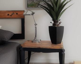 Low table end of black bedside sofa carbon workshop style industrial workshop