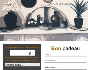 Gift voucher E-boutique gift voucher to offer printable PDF format