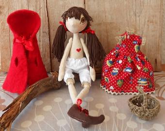 Little red riding hood doll, Handmade doll, Little red riding hood, Rag doll , Handmade rag doll , Natural doll, Rag doll