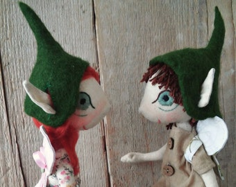 Two Handmade elf dolls , Unique Fabric Doll , Christmas Dolls , Unique Elf Doll , Organic Doll , Elf Fabric Doll, Natural Fabric Doll