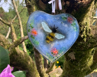 Fused Glass Heart with Bumble Bee Detail~ Glass suncatcher