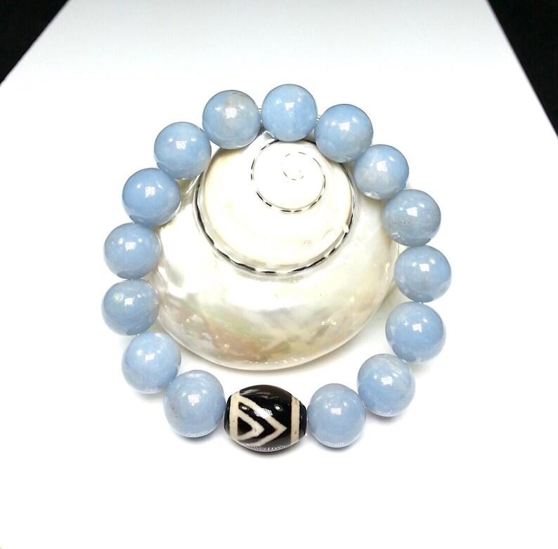 Healing Energies Calming Anti-Anxiety Bracelet Angelite Bracelet -10mm Angelite Bracelet Dzi Bead Bracelet