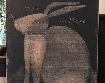 "Handmade Primitive Folk Art 1834 Gray Hare Rabbit Bunny Print on Canvas Board 5x7"" or 8x10"""